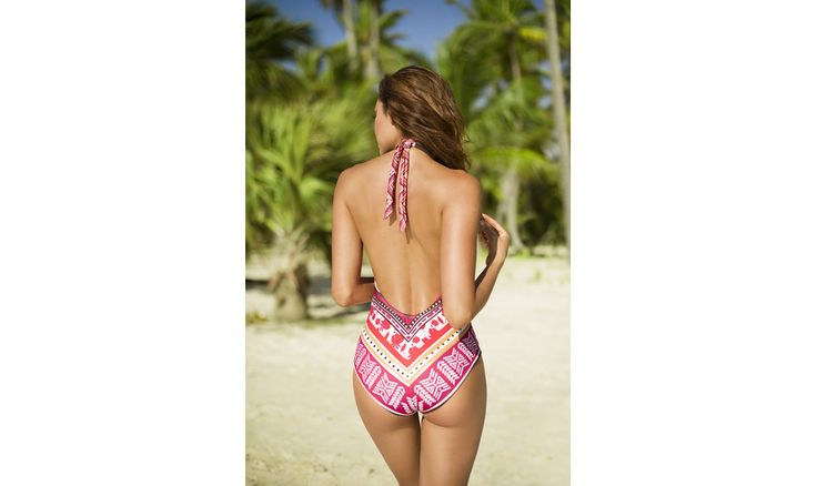 The beautiful Azteca one piece with shiny stones detailing, moulded cups and a cheeky Brazilian cut back. shop www.vidahermosa.co.nz