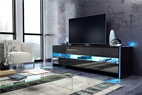 TV Schrank Lowboard Sideboard SKY (schwarz matt / schwarz hochglanz mit LED) – MÖBEL24 ONLINE