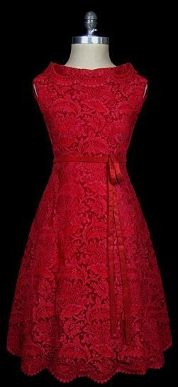 Valentino Red Lace Cocktail Dress