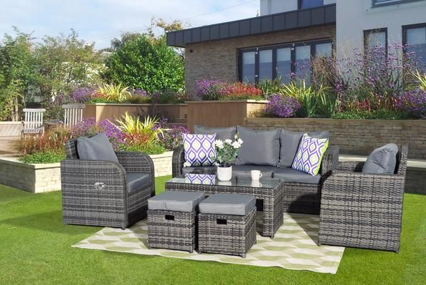 529 Yakoe Lotus 7 Seater Grey Rattan Garden Furniture Sofa Set With Reclining Chairs Outdoor Furniture Sets Furniture Sofa Set Grey Rattan Garden Furniture