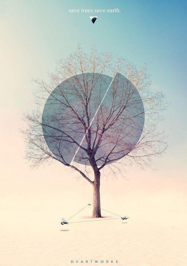 幾何圓 與樹交疊