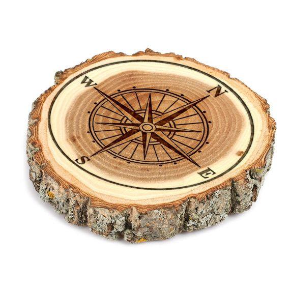 Compass Design Tree Bark Coasters, Wedding gift, Custom Tree Bark Coasters, Round Wood Coaster Set, Engraved Coasters Set-Wood Coaster 1002