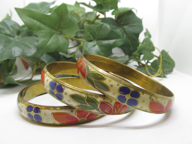 Vintage Set of Hand Painted Flower Enamel Cloisonne Bangle Bracelet Gold tone Base Gorgeous Hand Painted Blue Orange and Green  Floral Motif