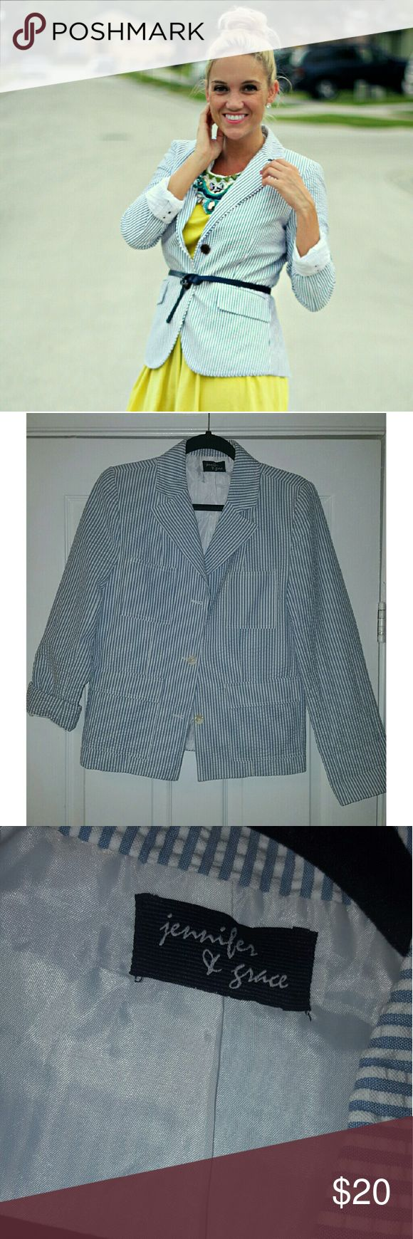 Jennifer & Grace seersucker blazer OPEN TO OFFERS ❤❤  Shoulder pads removed, no flaws other than that Jackets & Coats Blazers