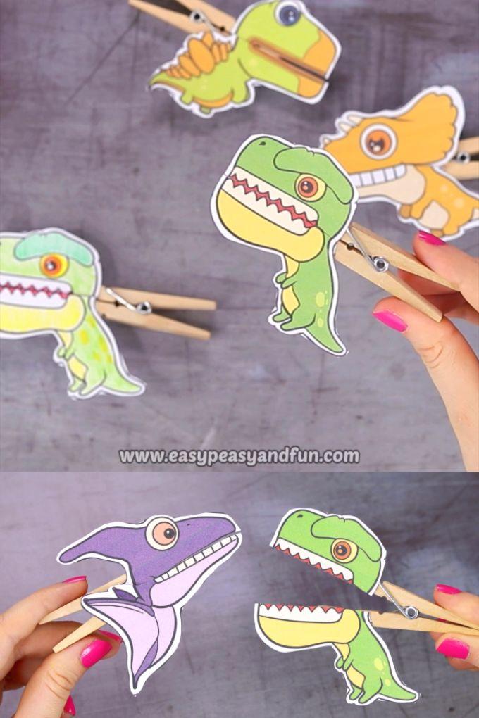 Dinosaurier Wäscheklammer Puppen – druckbare Papiermodelle   – Basteln mit Kindern
