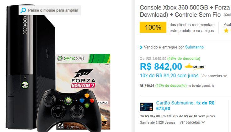 Console Xbox 360 500GB  Jogo Forza Horizon 2  Controle Sem Fio << R$ 67360 >>