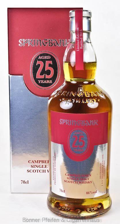 Springbank Whisky 25 y.o. Region : Campbeltown nur eine Flasche 46 % alc./vol. 0,7l nicht kühlgefiltert Fassart : Ex-Bourbon und Ex-Sherry, später Ex-Port Pipes Nase : Viel Frucht, Beeren, Portwein Geschmack : Viel Port, Sherry und Pflaumenmarmelade, dazu Grapefruit und Blutorange Finish : Lang, weich und elegant mit Rauch und ein  wenig erdig Limitiert : 900 Flaschen Abgefüllt : 2015