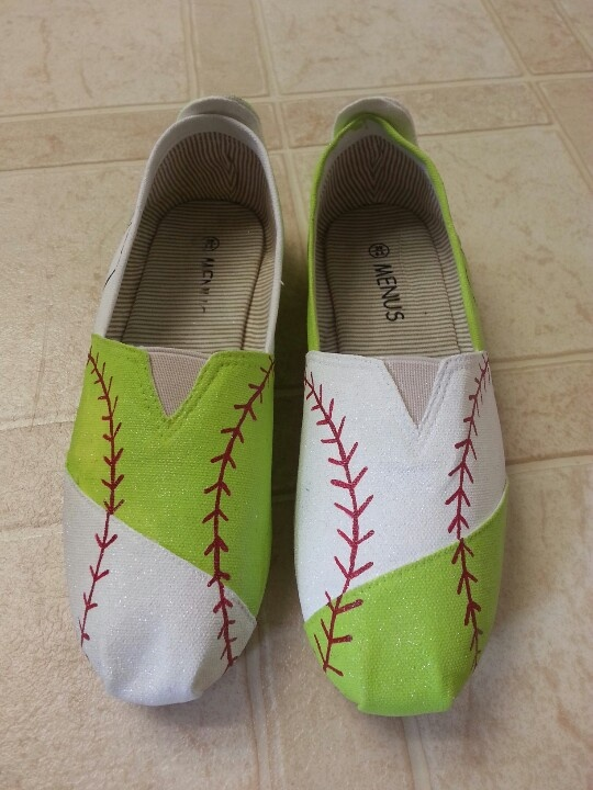 softball and baseball theme painted toms and canvas shoes! facebook.com/SassyYourSole