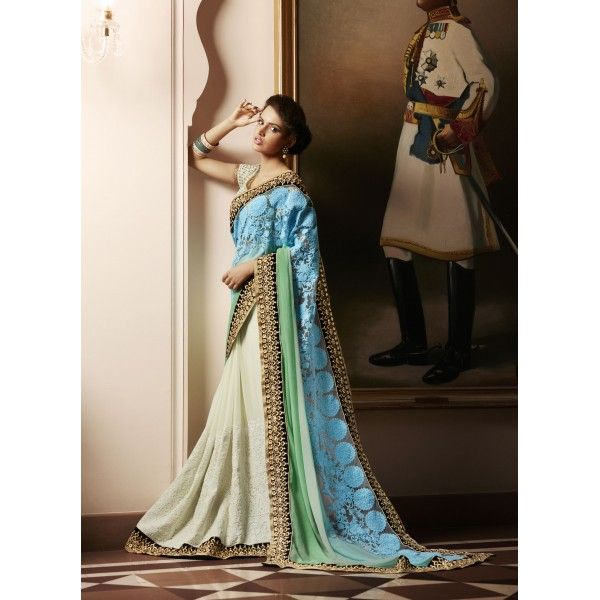Cream and Blue Beautiful Embroidered Georgette Saree with Blouse Piece