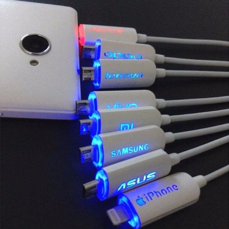 LED USB Charger Cables For Samsung iPhone Vivo Huawei Xiaomi Logo w/Multi-Colors #Generics