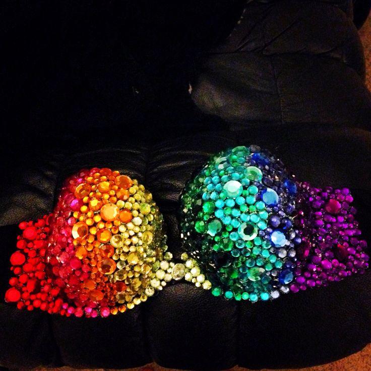 Rhinestone bra I made with hot glue and rhinestones for raves