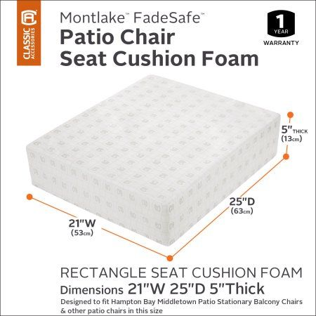 Classic Accessories Montlake Patio Lounge Seat Cushion Foam - 5 inch Thick - High Density with Protective Cover, White
