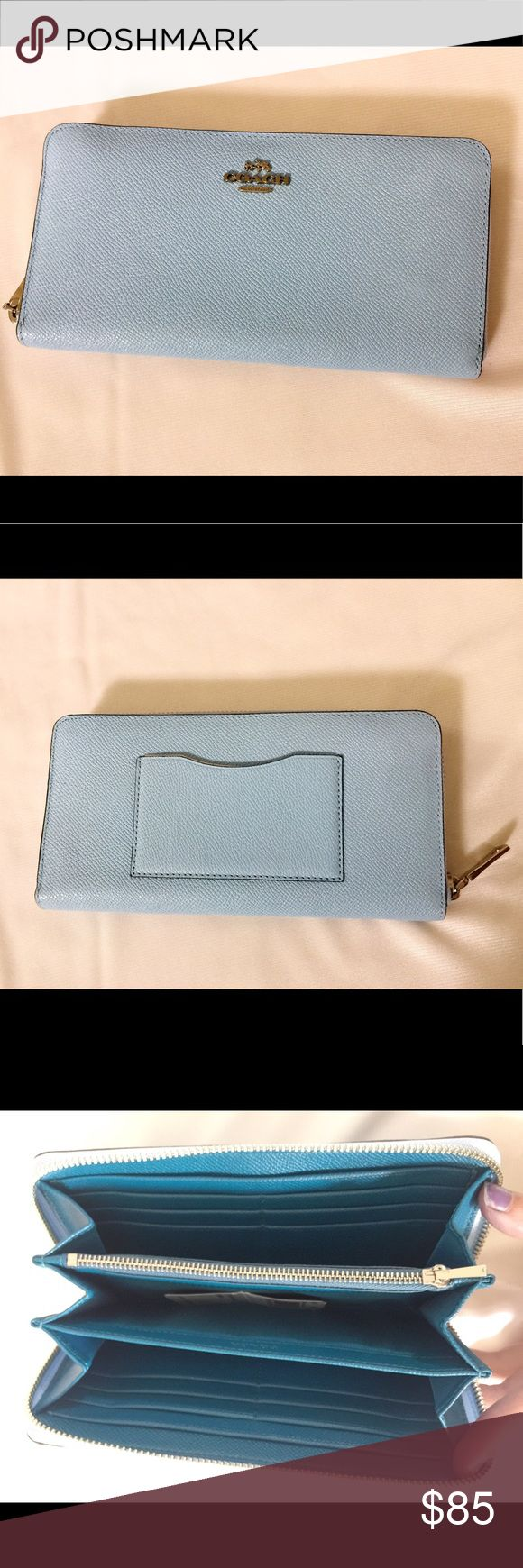 NWT! Coach light blue pebbled leather wallet NWT coach light blue pebbled leather wallet. Orig. $225.00 Coach Bags Wallets