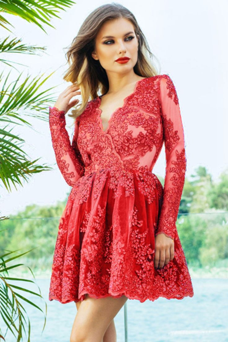 Evening red dress made from embroidered lace