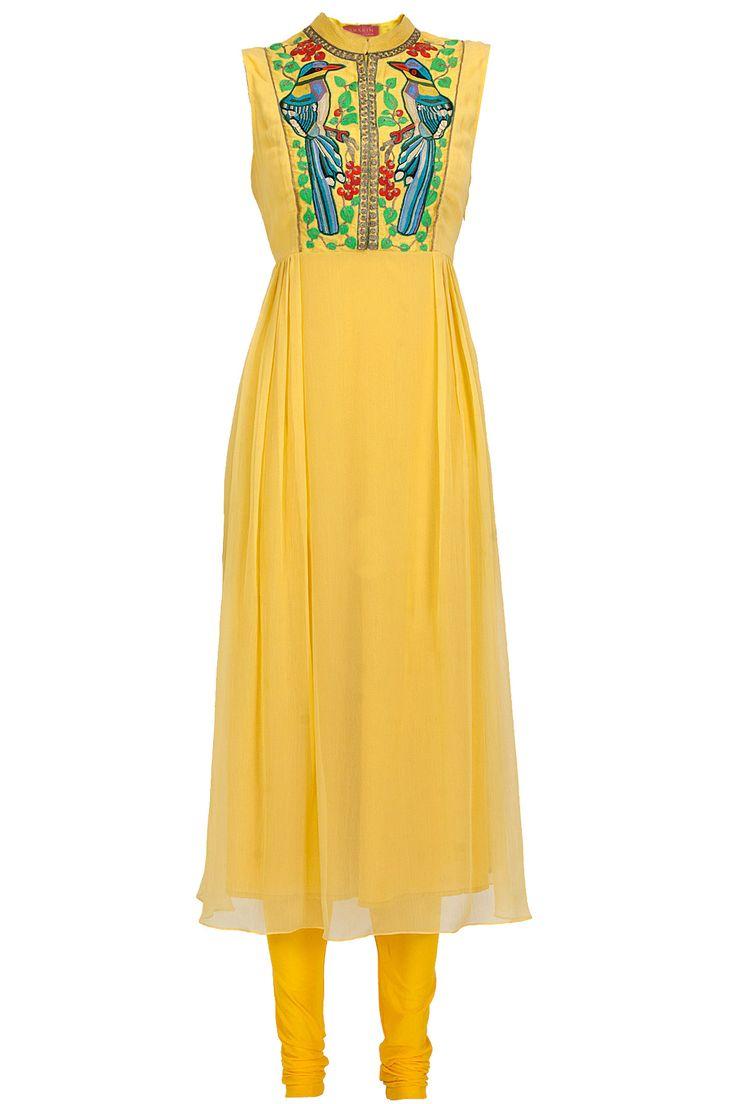 Yellow bird yoke kurta set available only at Pernia's Pop-Up Shop.