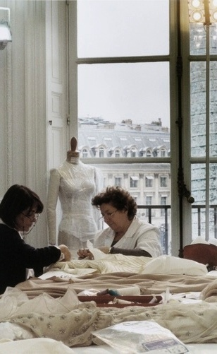 "The beauty of ""hand made"" haute couture. At Valentino's work room, Paris, Place Vendome."