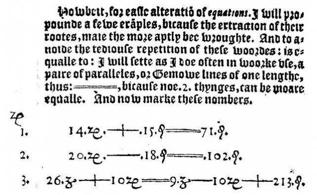 Frammento di The Whetstone of Witte di Robert Recorde (1557)
