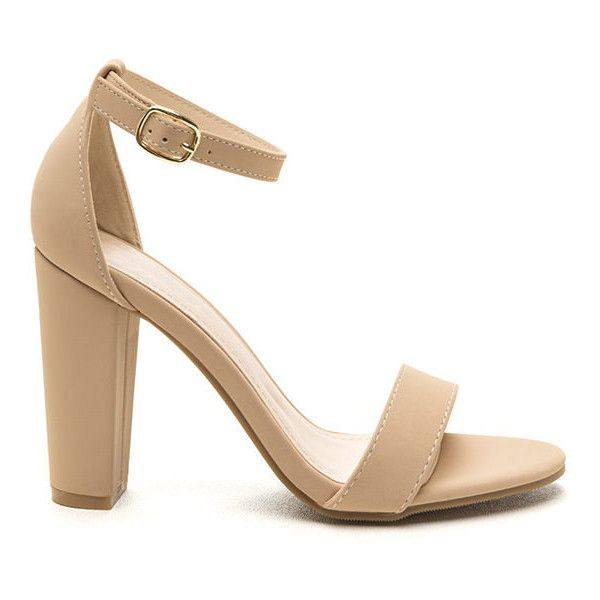 All's Fair In Fashion Faux Nubuck Heels NUDE (30 CAD) ❤ liked on Polyvore featuring shoes, pumps, tan, wide heel pumps, chunky heel pumps, high heel shoes, nude court shoes and thick heel shoes