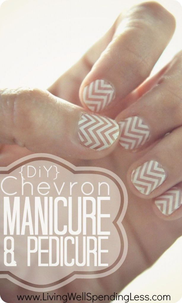 Detailed tutorial for a DIY chevron manicure & pedicure--so cute!