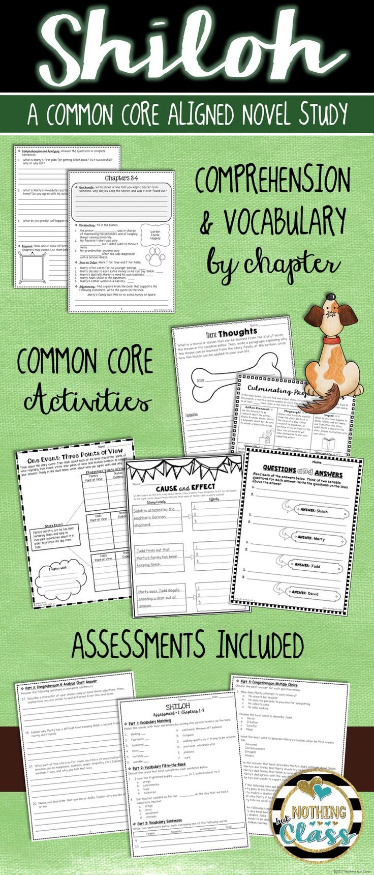 This 107 page book study for Shiloh, by Phyllis Reynolds Naylor, contains comprehension by chapter, vocabulary challenges, creative reading response activities and projects, tests, and much more!  You will find this literature guide to be teacher and student friendly. It contains a wide variety of question types, along with open-ended graphic organizers and unique activities, all carefully crafted for this particular story.