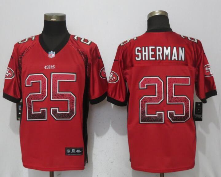 Nike 49ers 25 Richard Sherman Red Drift Fashion Elite Jersey  a998a0355