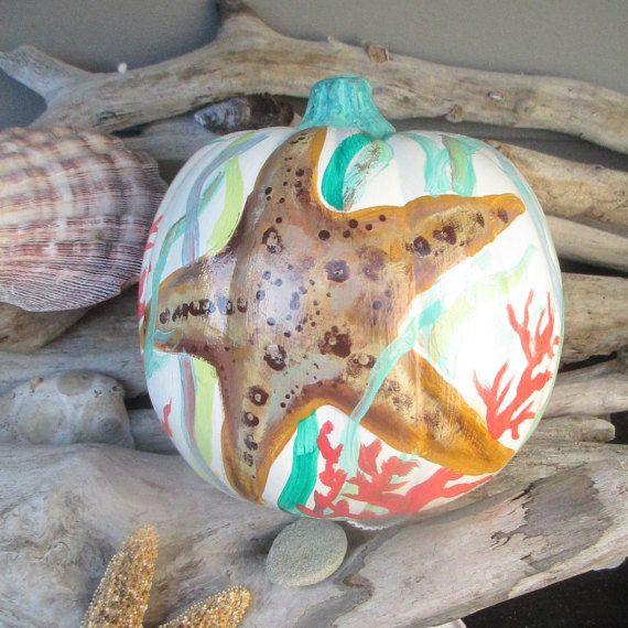 Coastal Fall Pumpkin, Fall decor, Mantle decor, Beach house decor, Starfish…