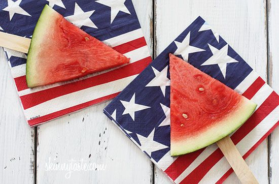 Watermelon On A Stick - isn't this just the coolest idea?! No cooking required!  #weightwatchers