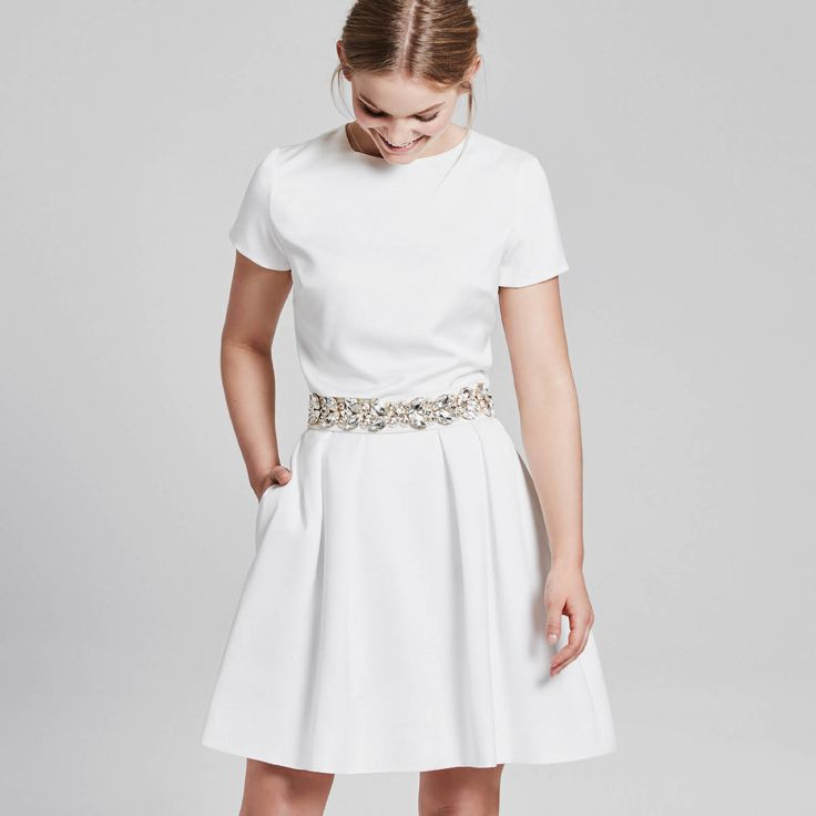 Choose your top and skirt, choose your accessoire - perfect civil wedding dress, ivory