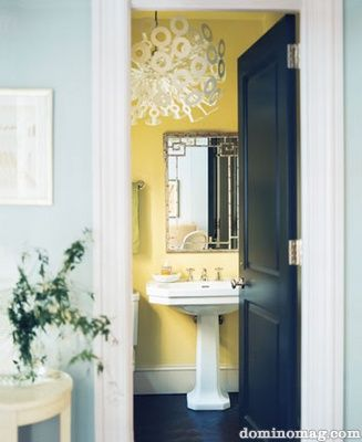 yellow bathroom- Would be a similar color transition from our hall to bath. I like it!