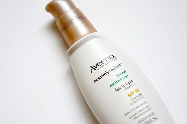 Aveeno Tinted Moisturizer  I use this (in place of foundation) each morning. It covers blemishes and feels light, not like foundation that can make my face feel smothered. I use this whether it's a gussied up make-up day or a no make-up day; especially since it has SPF to protect my skin no matter what's on the agenda.