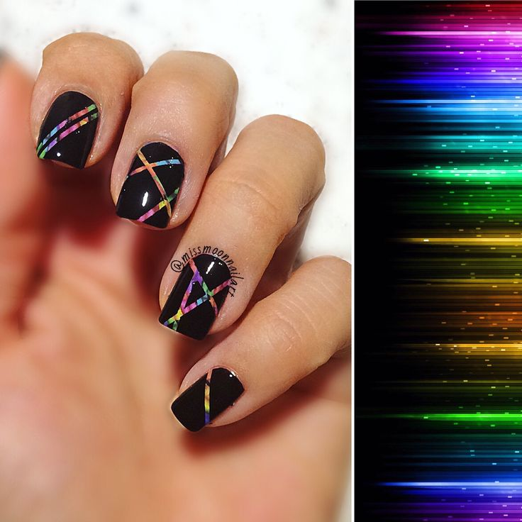 Rainbow stripes #rainbowstripes #nailart #naildesign #blacknails #colorfull #stripes #nailpolishaddict #colorsinthedark #mysoulisarainbow #allaboutnailsofficial #adornnails #nailartpic #january2017 #mondaymood #opitopcoat #colorshow #maybelline #blackout #nails2inspire