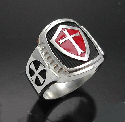 Knights Templar Masonic Cross Ring In Sterling Silver With