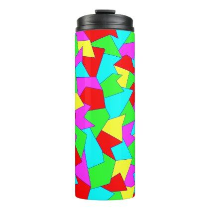 Thermal cup with abstract sample in multicolored - blue gifts style giftidea diy cyo