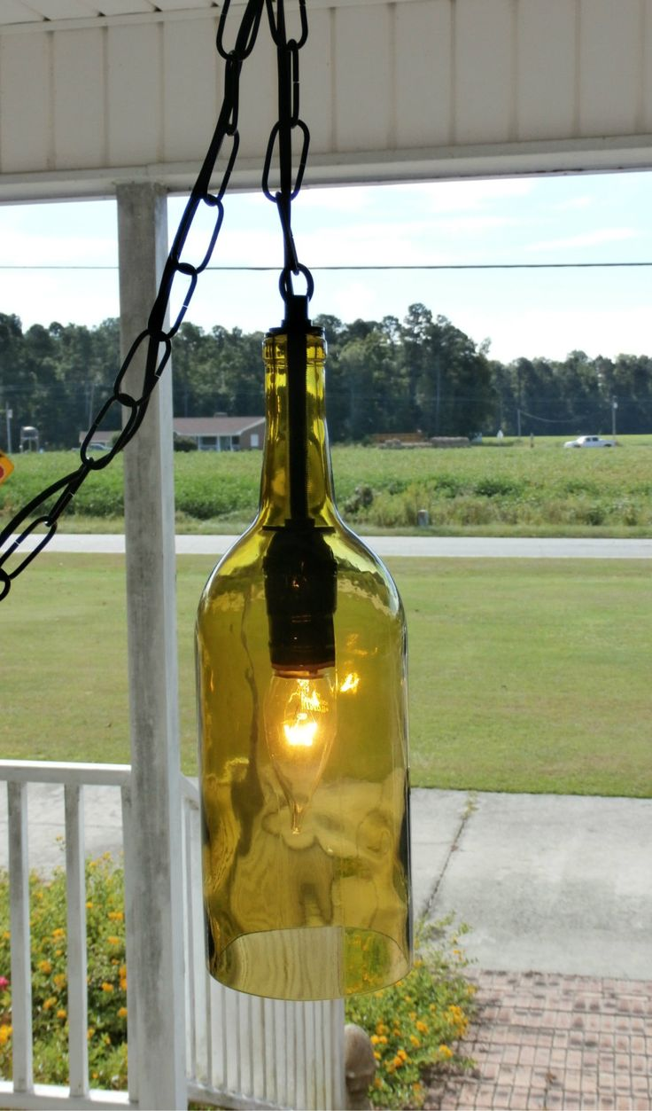 Upcycled Wine Bottle Pendant/Hanging Light by MidnightandMagnolias, $48.00