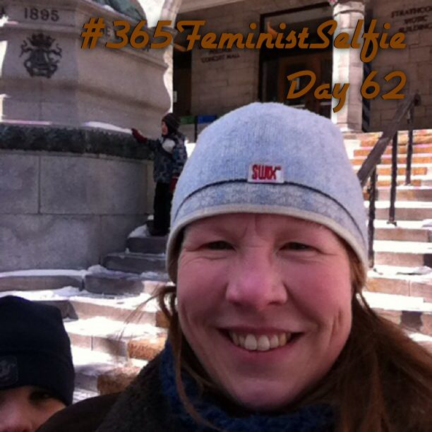 Boys are off school this week, so we get to go places! This is downtown Montreal outside one of McGill University's Music buildings. We just dropped off my cousin's daughter for her audition to get into their music program. Break a leg, Emma!! #365FeministSelfie day 62