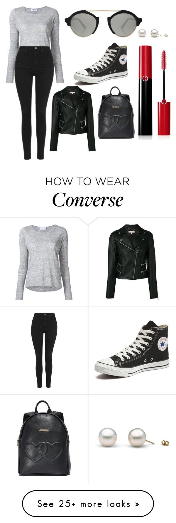 """Sans titre #5223"" by merveille67120 on Polyvore featuring Frame, Topshop, Converse, Illesteva, MICHAEL Michael Kors, Moschino and Giorgio Armani"