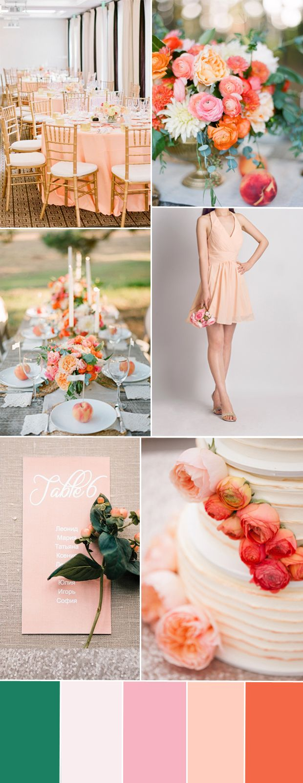 peach wedding color combos ideas and bridesmaid dress styles #weddingcolors
