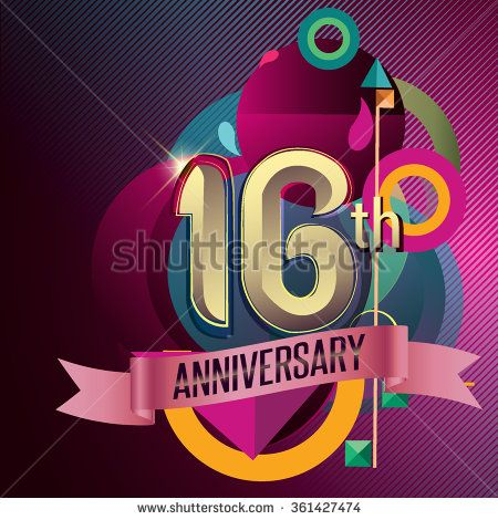16th Anniversary, Party poster, party invitation - background geometric glowing element. Vector Illustration - stock vector