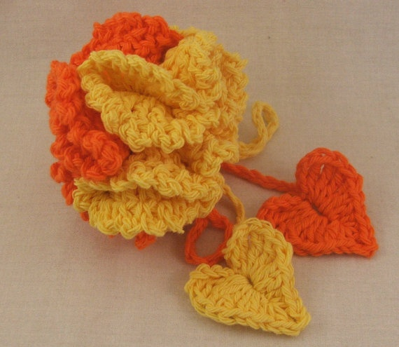 Orange and yellow bath poof by mungermuffin on Etsy, $7.00