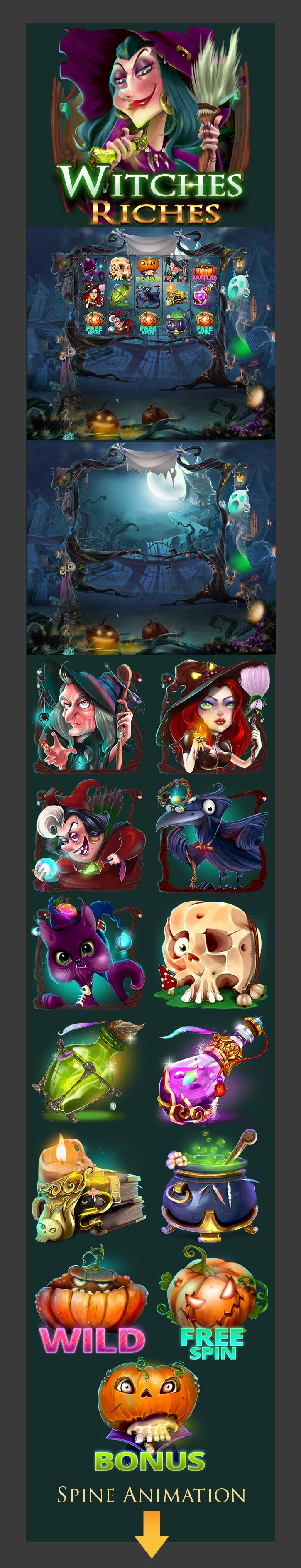 Slot machine,Casino mobile game art,Witches-Riches on Behance