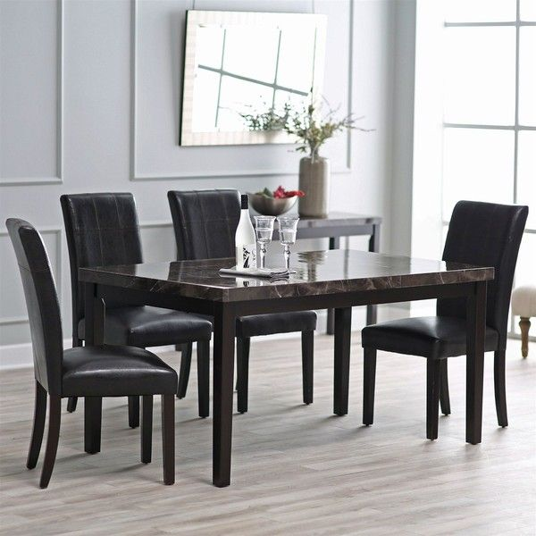 Contemporary 60 X 36 Inch Dining Table With Faux Marble Top (6 220 ZAR) ❤  Liked On Polyvore Featuring Home, Furniture, Tables, Dining Tables, ...