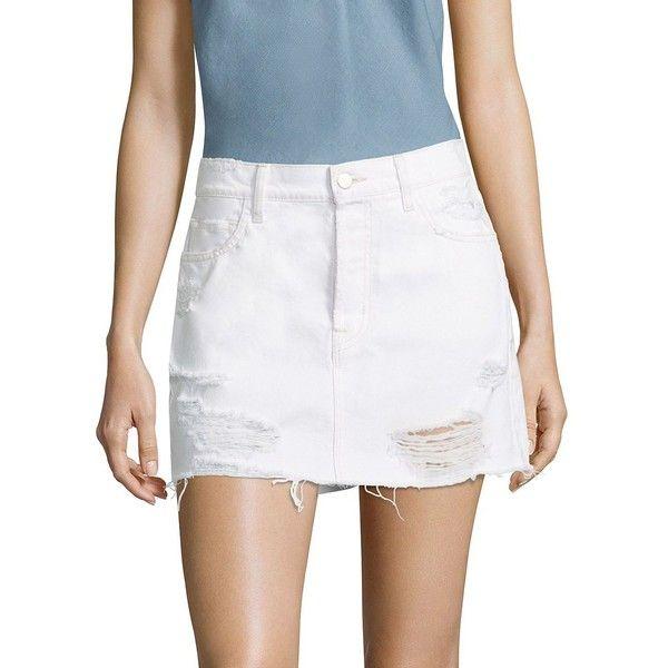 J BRAND Bonny Distressed Denim Mini Skirt ($198) ❤ liked on Polyvore featuring skirts, mini skirts, short skirts, long white skirt, long skirts, white mini skirt and ripped skirt