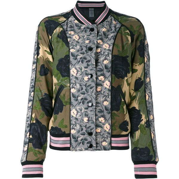Coach printed reversible bomber jacket (€575) ❤ liked on Polyvore featuring outerwear, jackets, green, reversible bomber jacket, long camo jacket, camo jackets, long green jacket and green camo jacket