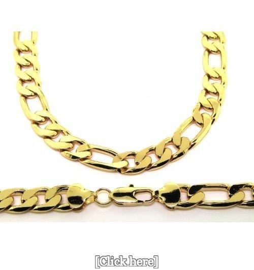 Figaro Chain Necklace - 24 k Gold Plated - Men's - 12MM WIDE, Chunky, Bling