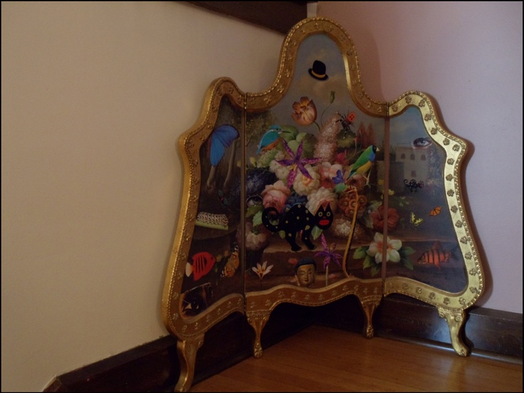 A mixed media collage on an antique fire screen by D. Mattingly. Jenna is into sculpture, too. This Dali-type style caught Jenna's eye while visiting the artist's opening in Indianapolis in 2008!: Antiques Fire, Style Caught, Dali Typ Style, Jenna Eye, Antique Fire