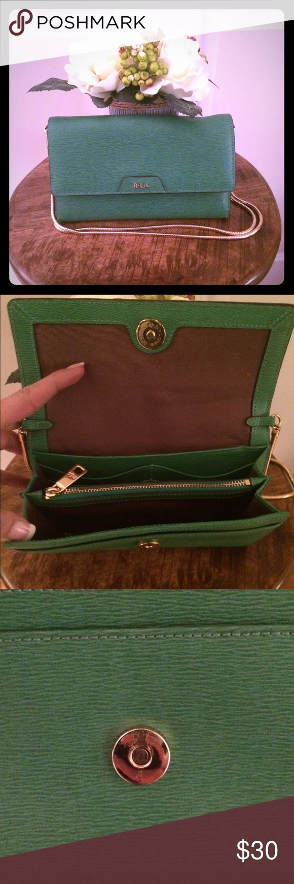 Ralp Lauren Green Crossbody with Gold Chain Ralph Lauren green crossbody purse with gold chain! Purse is in good condition and used a couple of times. Snaps in front of purse to close! Inside of purse has a middle pocket that zips, rear of inside of purse has a pocket with 6 credit card slots, a pocket in front and pocket on backside of purse. Gold snap has a few minor scratches which I showed in picture! Dimensions are 7.5W and 4.5L.  Message me with any questions! ❤️ Ralph Lauren Bags…