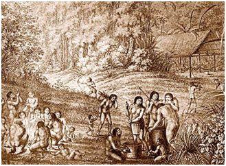 Índios Guaianases (gravura do século XVII)