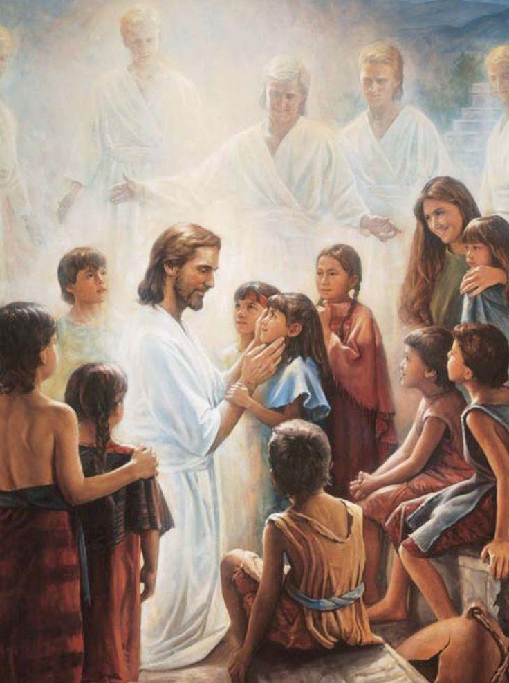 Jesus with children, by Del Parson.
