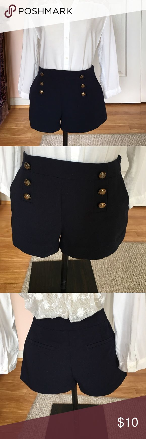 Blue sailor/ nautical shorts Super cute sailor/ nautical shirts. Three gold buttons with anchors on them down each side. Great condition, worn a few times but in like new condition. I take good care of my clothes so there's no holes, stains, etc. Forever 21 Shorts