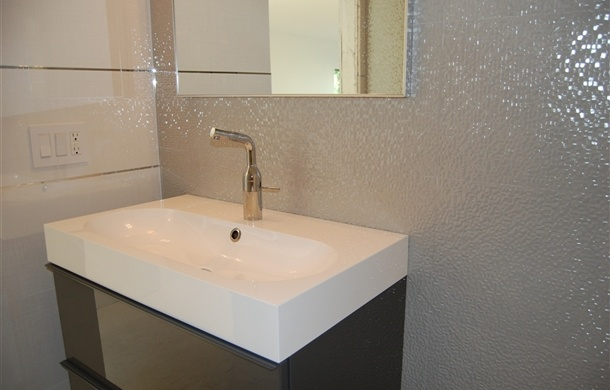 Ikea sink with porcelanosa tile